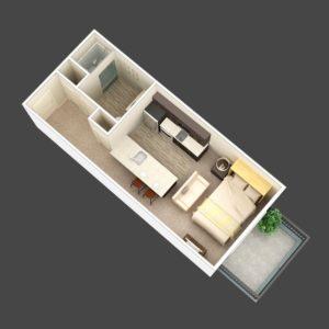 The Prism 1BR Apartment Floorplan